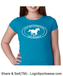 Girls Short Sleeve TShirt - Blue Design Zoom