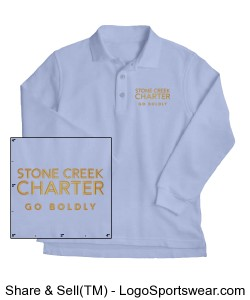 Youth Long Sleeve Pique Polo - Embroidered, Light Blue Design Zoom