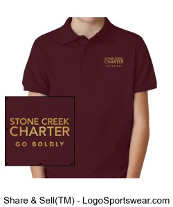 Youth Short Sleeve Jerzees Polo - Embroidered, Maroon Design Zoom