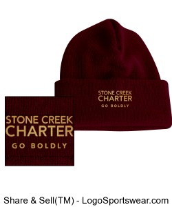 Knit Beanie - Embroidered, Maroon Design Zoom