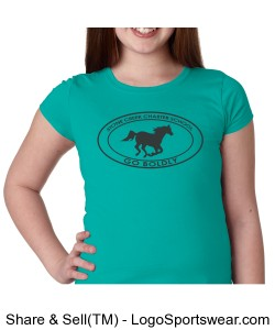 Girls Short Sleeve TShirt - Teal Design Zoom