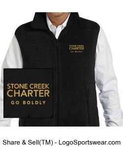 Adult Full Zip Fleece Vest - Embroidered, Black Design Zoom